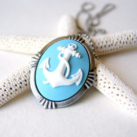 Nautical Anchor Necklace - white anchor - sky blue background - anchor brooch - anchor jewelry - nautical fashion - summer fashion