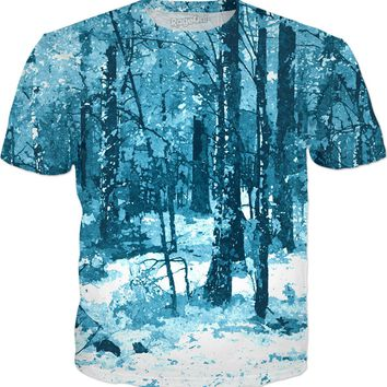 Is winter comming already? Blue enchanted forest, ice cold tee shirt