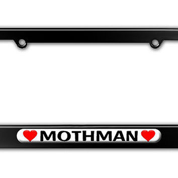 Mothman Love with Hearts Metal License Plate Frame