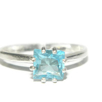 Sky Blue Topaz Ring, Princess Cut, Sterling Silver