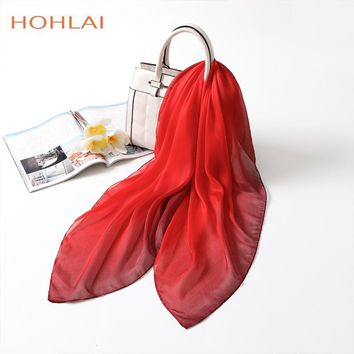 2018 New Fashion Joker Solid Color Gradient Square Silk Scarf Women New Poncho Foulard Red Bandana Big Size Neck Scarves 90*90CM