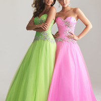 Lime Green Taffeta & Tulle Strapless Lace Up Prom Gown - Unique Vintage - Cocktail, Pinup, Holiday & Prom Dresses.