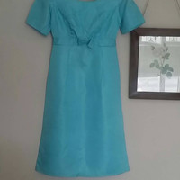 Ladies vintage dress 1950s dresses size 10 8 satin blue bow front retro wiggle dress wedding bridesmaid evening fitted  Dolly Topsy Etsy UK