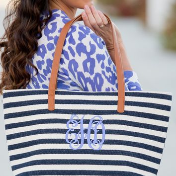 Navy Stripe Charlotte Purse