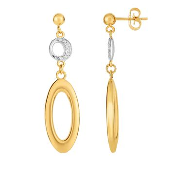 14K Yellow Gold 11.2x45mm 0.09ct.Diamond d Circle On Ball Post Fancy Drop Earring with Push  Back Clasp