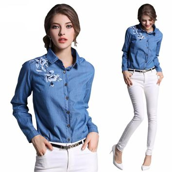 Vintage Women Jean embroidered denim flower long sleeve blouse shirt