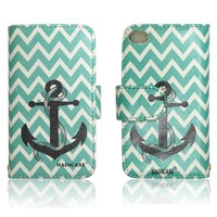 Chevron Anchor Infinity Wallet Purse clutch Handbag iPhone 4 4s case cover ID,Credit Card,Cash Slots
