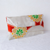 "Wedding  Clutch Bag ""Golden  Blossoms""  (Japanese Silk Kimono Bag; Gold Kimono Obi Purse; Japanese Purse; Gold Clutch Bag; Clutch Purse)"