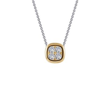 Lafonn Classic Sterling Silver 2-Tone Plated Simulated Diamond Necklace (0.14 CTTW)