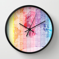 Rainbow World Map Wall Clock by Catherine Holcombe