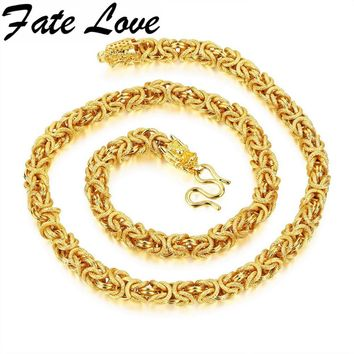 Fate Love Hiphop Dragon Necklace Gift Gold Color Chain Huge&Heavy Long Rope Men's Necklace Link thick curb Chocker Jewelry KX658