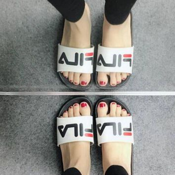 FILA Trending Women Men Casual Letter Print Non-Slip Wear-Resisting Thick Sole Flat Sandals Slippers Shoe