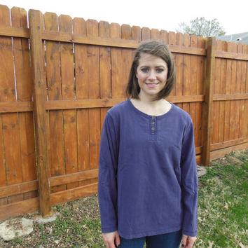 Vintage 1990's long sleeved, purple,  grunge henley t-shirt.