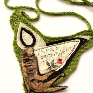 felt necklace, fiber jewelry, bib necklace, ginseng, herb art, knit jewelry, fiber art