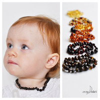 Black Amber beads teething NECKLACE BABY handmade knotted with safe clasp