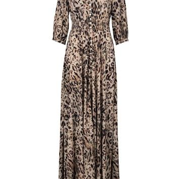 Leopard Print V-neck Half Sleeve Button Front Maxi Dress - Choies.com