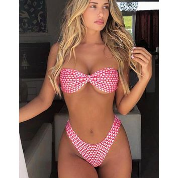 Fashion Women Red Bikini White Heart Print Bowknot Strapless High Waist Backless Two Piece Bikini Swimsuit Bathing I12910-1