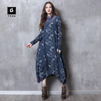 Women Dress 2018 Keer Boho Cotton Asymmetrical Dresses Mandarin Collar Long Sleeve Vestido A82098 Vintage Denim Vestido Feminina