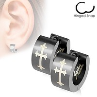 Cry Of The Cross - Gothic Medieval Crosses Hinged Hoop Design Stainless Steel Black Earrings