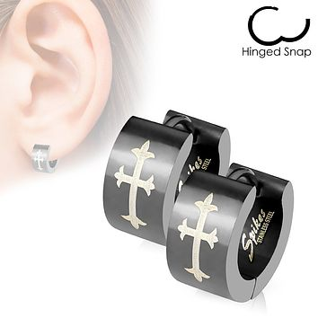Gothic Medieval Cross Print Black Hinged Wide Hoop Earrings