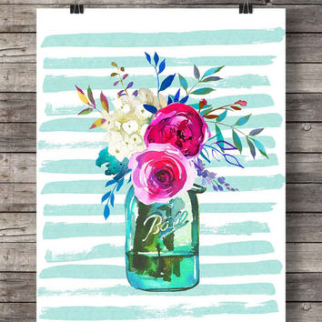 Printable art | Spring Watercolor flowers bouquet print | Watercolor decor art print | Mason jar floral Printable wall art | Watercolor