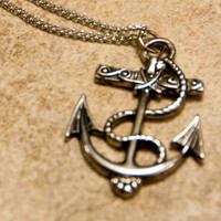 Anchor Necklace Silver Nautical 50 of sale will by WhalesForever