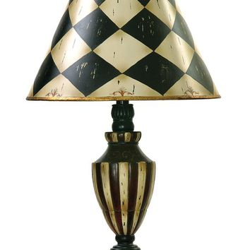 "Harlequin and Stripe Urn 29"" Table Lamp"