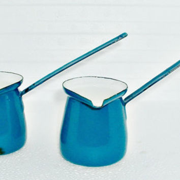 Vintage Enamel Blue Turkish Coffee Pot Pourers Dippers Enamelware Yugoslavia Lot of 2 Ladles