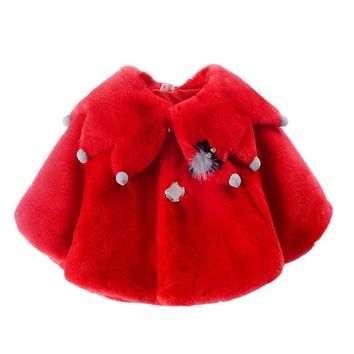 New Baby Girls coat faux fur Ponchos And Capes Outerwear Winter Autumn 6M-2 old size Clothes 7BT024