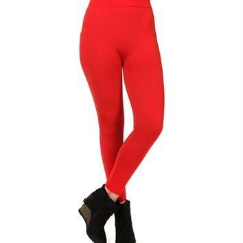Red Microfiber Leggings