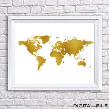 Best gold world map poster products on wanelo gold foil signgold foil map art world map poster world map gold foil world map gold gumiabroncs Image collections