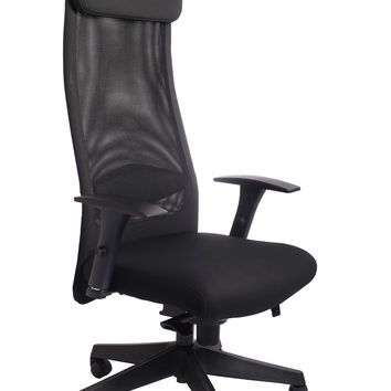 Chair-High-Back Mesh Backrest with Lumbar Support and Headrest Pillow. WAREHOUSE PICK-UP ONLY.