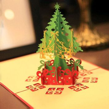 1pc Merry Christmas Tree Vintage 3D laser cut pop up paper handmade custom greeting cards Christmas gifts souvenirs postcards