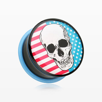 A Pair of Skull Americana Single Flared Ear Gauge Plug