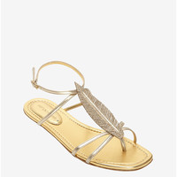 SERGIO ROSSI CRYSTALIZED FEATHER FLAT SANDAL: GOLD
