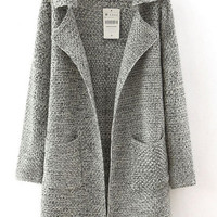 Grey Long Sleeve Notched Collar Pockets Sweater Coat