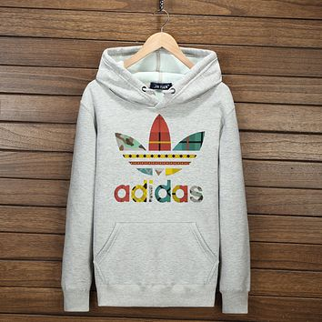 "Women Men Couple ""Adidas"" Print Hoodie Sweatshirt Tops Sweater Pullover(7-Color) Light grey I-YSSA-Z"