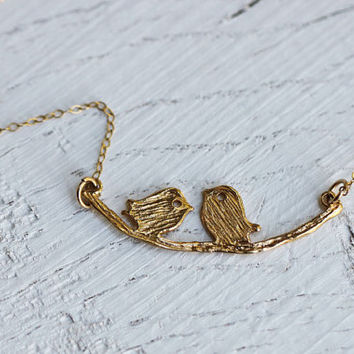bird branch Birds Necklace, Gold filled chain with Sparrow Birds pendant