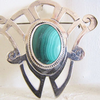 Green Malachite & Sterling Pendant Large Brooch Boho Chic Statement Necklace Green Brooch Estate Jewelry Gifts For Her SALE