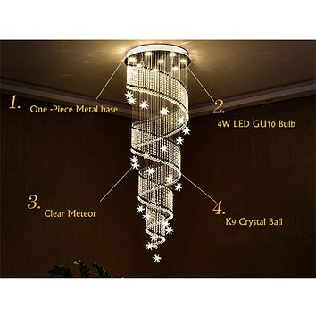Large Modern Crystal Chandeliers For Living Room Lightings  Spiral Chandelier