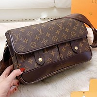 Louis Vuitton LV  Fashion New Monogram Tartan Leather Shopping Leisure Shoulder Bag Crossbody Bag Briefcase