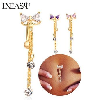 ac PEAPO2Q Belly Piercing Navel Nail Medical Steel Reverse Belly Button Ring Angle Bowknot Navel Bar Silver Plated Body Jewelry Piercing