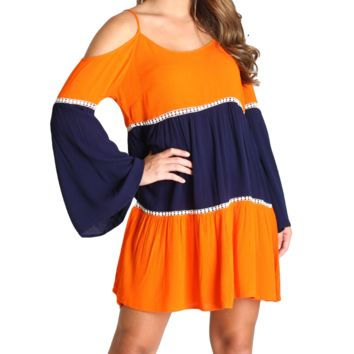 Umgee Navy and Orange Gameday Dress