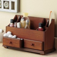 Beauty Organizer 7 open compartments and 2 drawers Walnut finish