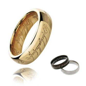Hot-selling H Letters One Ring To Rule Them All Male Titanium Stainless Steel Men Rings For Women Black Silver Gold Size 7-15