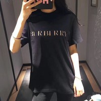 """Burberry "" Women Casual Fashion Retro Embroidery Letter Short Sleeve T-shirt Top Tee"