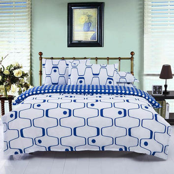 3 Or 4pcs Polyester Fiber Blue White Labyrinth Printed Bedding Sets Quilt Cover 3 Size
