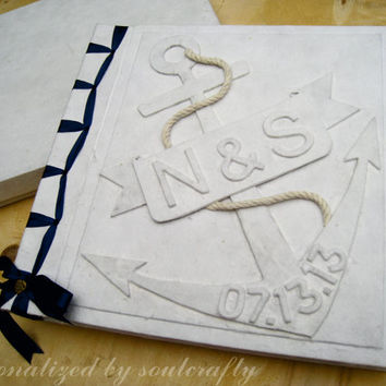 Personalized Nautical Wedding Beach wedding Guest Book Photo album Scrapbook