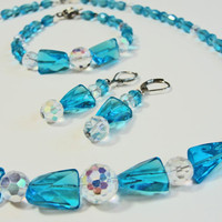 SALE Hand Made Turquoise and Crystal Glass Beads Necklace, Earrings, Bracelet Set - Swarovski and Aurora Borealis Parure