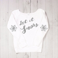 Holiday Elbow Patch Sweatshirt - Let it Snow with Snowflake Elbow Patch